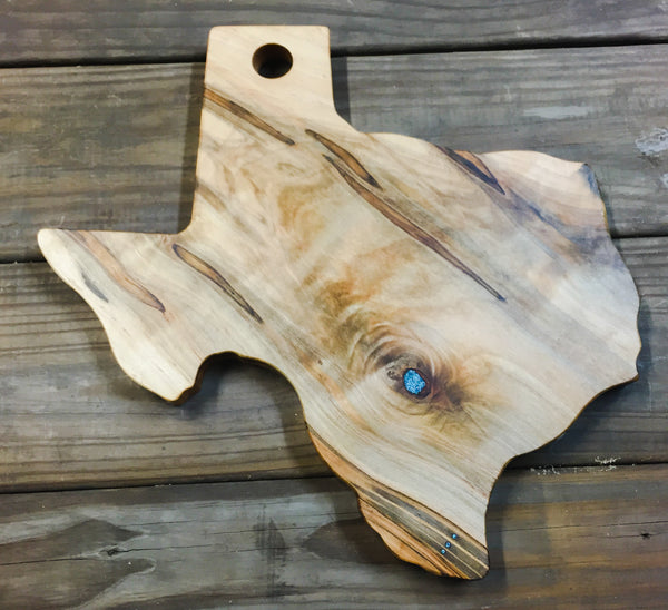 Large Texas Cutting Board with Turquoise Inlay