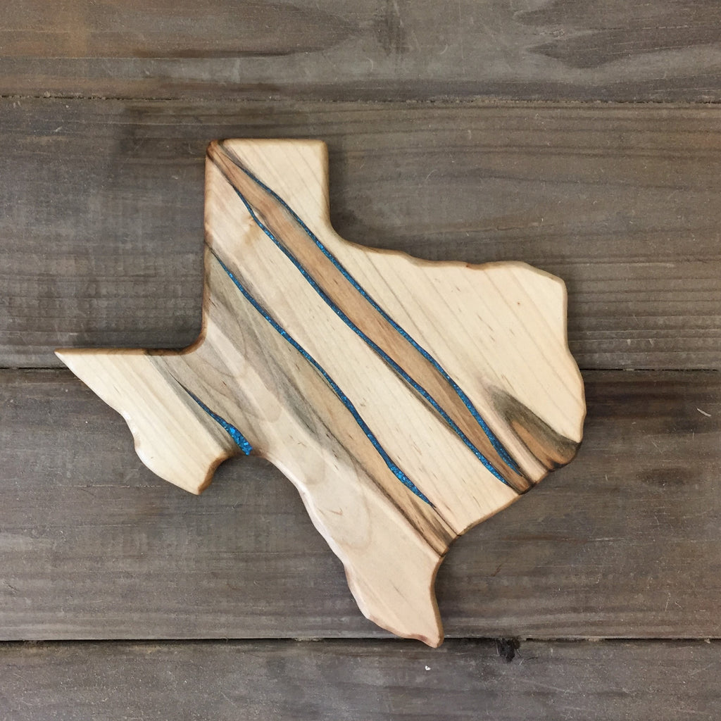315. Small Texas Shaped, Ambrosia Maple Cutting Board with Turquoise