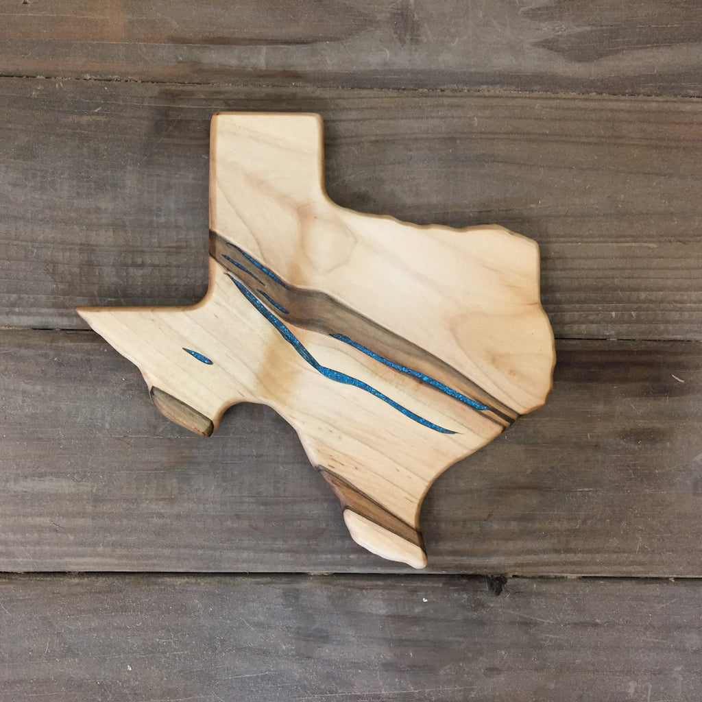 316. Small Texas Shaped, Ambrosia Maple Cutting Board with Turquoise