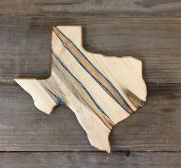 Small Texas Cutting Board with Turquoise