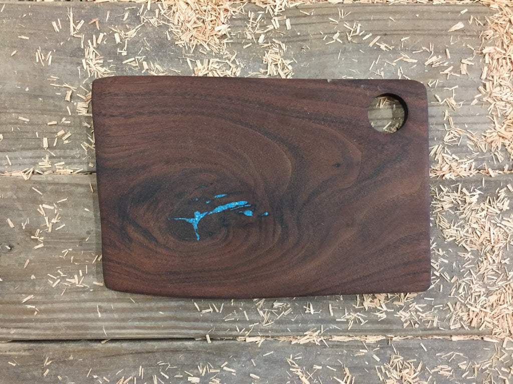 349. Black Walnut Serving Board with Turquoise Inlay