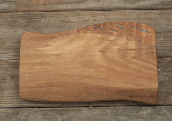 345.  Live Edge Cherry Slab Cutting Board with Turquoise Inlay