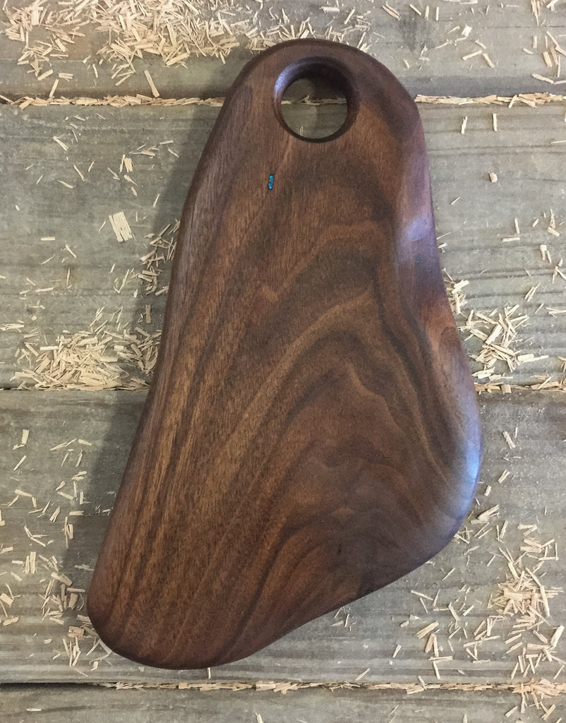 365. Walnut Serving Board with Turquoise Accent
