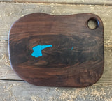 374. Walnut Serving Board with Turquoise