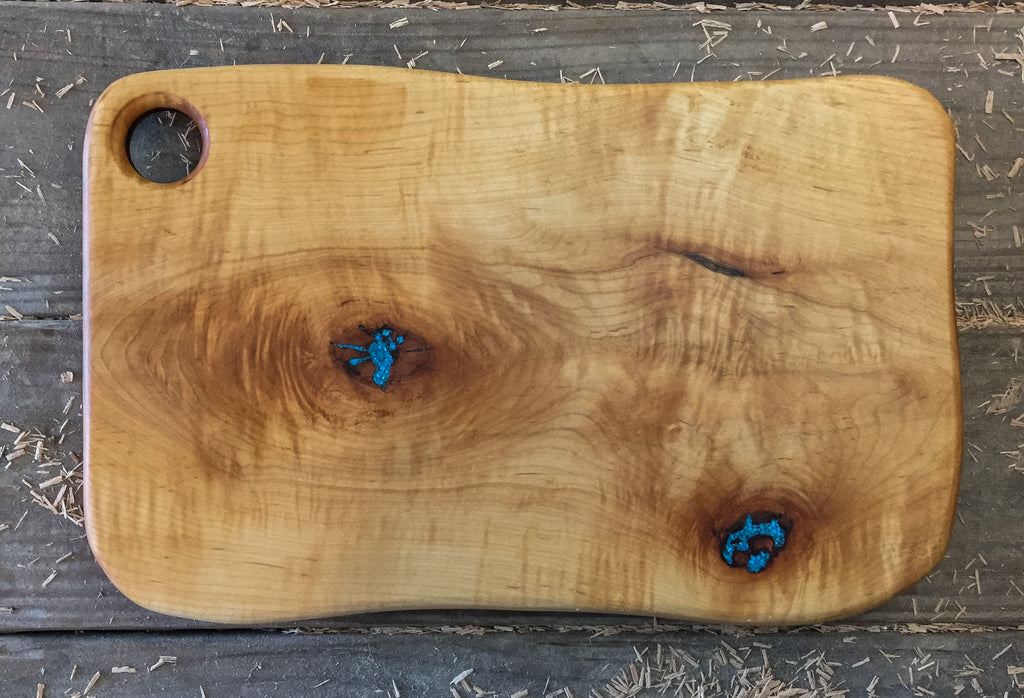 379. Curly Maple Serving Board with Turquoise