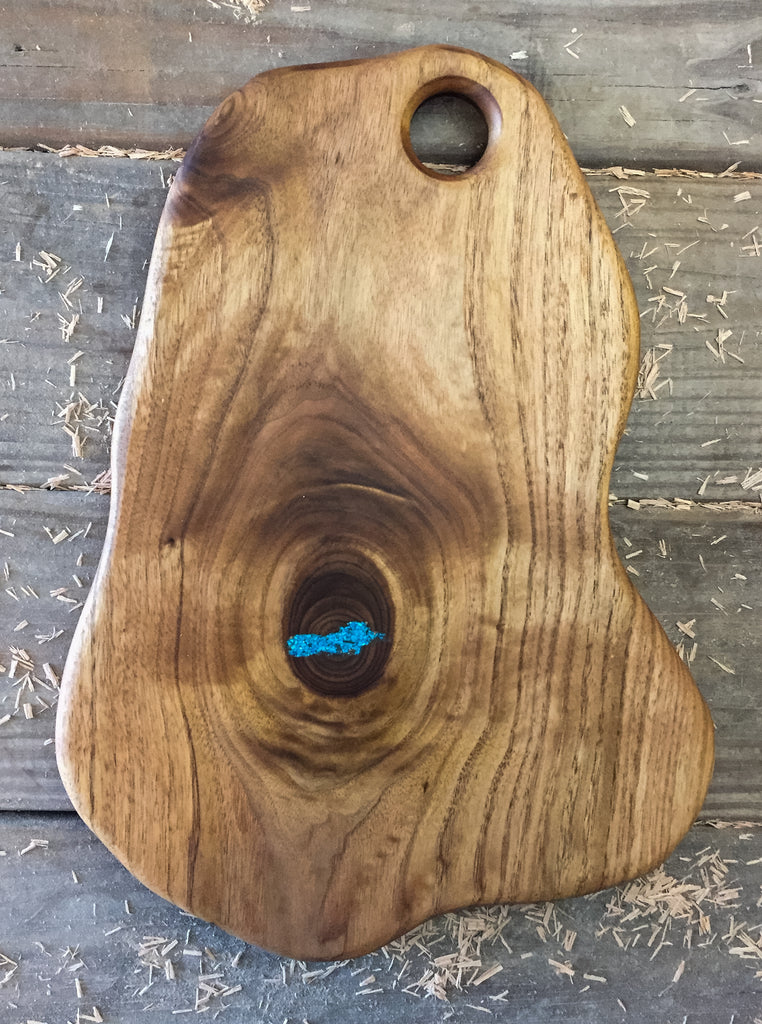378. Butternut Serving Board with Turquoise