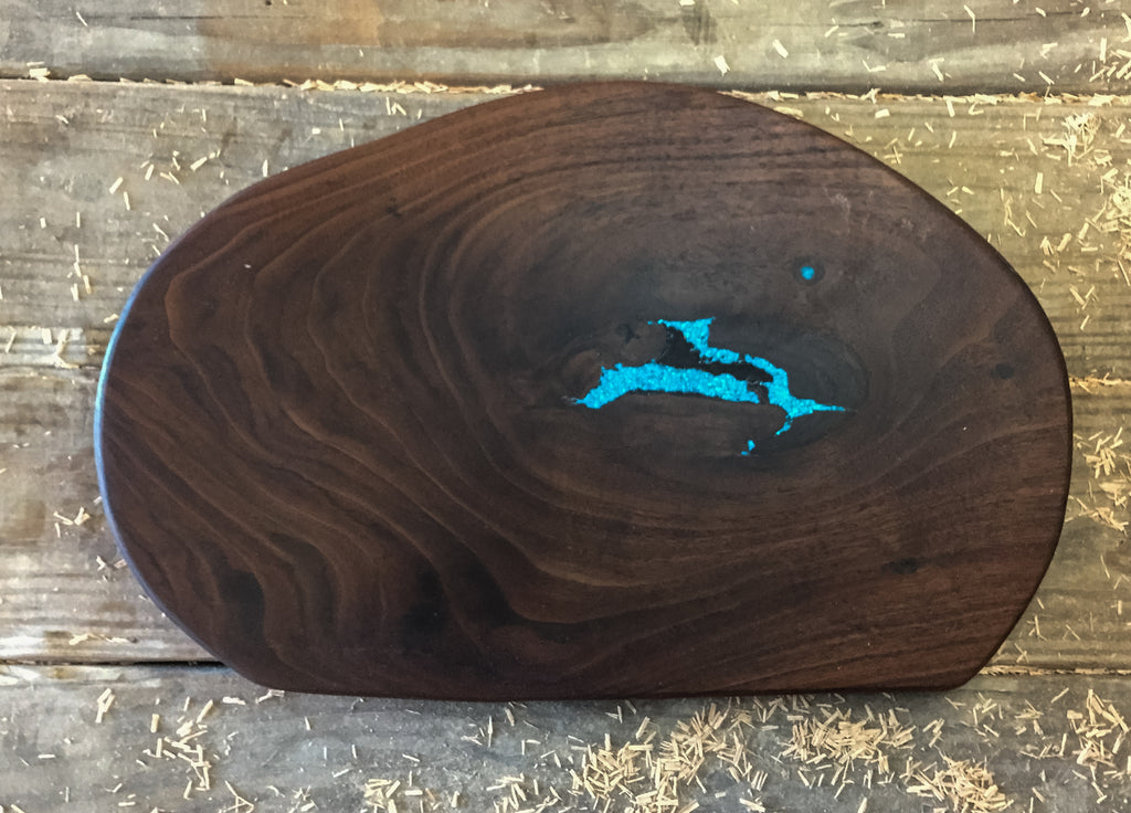 368. Walnut Serving Board with Turquoise