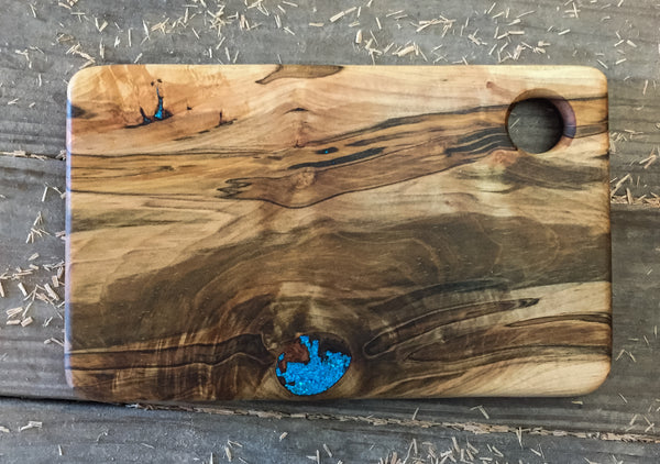 353. Ambrosia Maple Serving Board with Turquoise