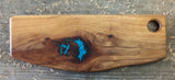 381 Pecan Serving Board with Turquoise