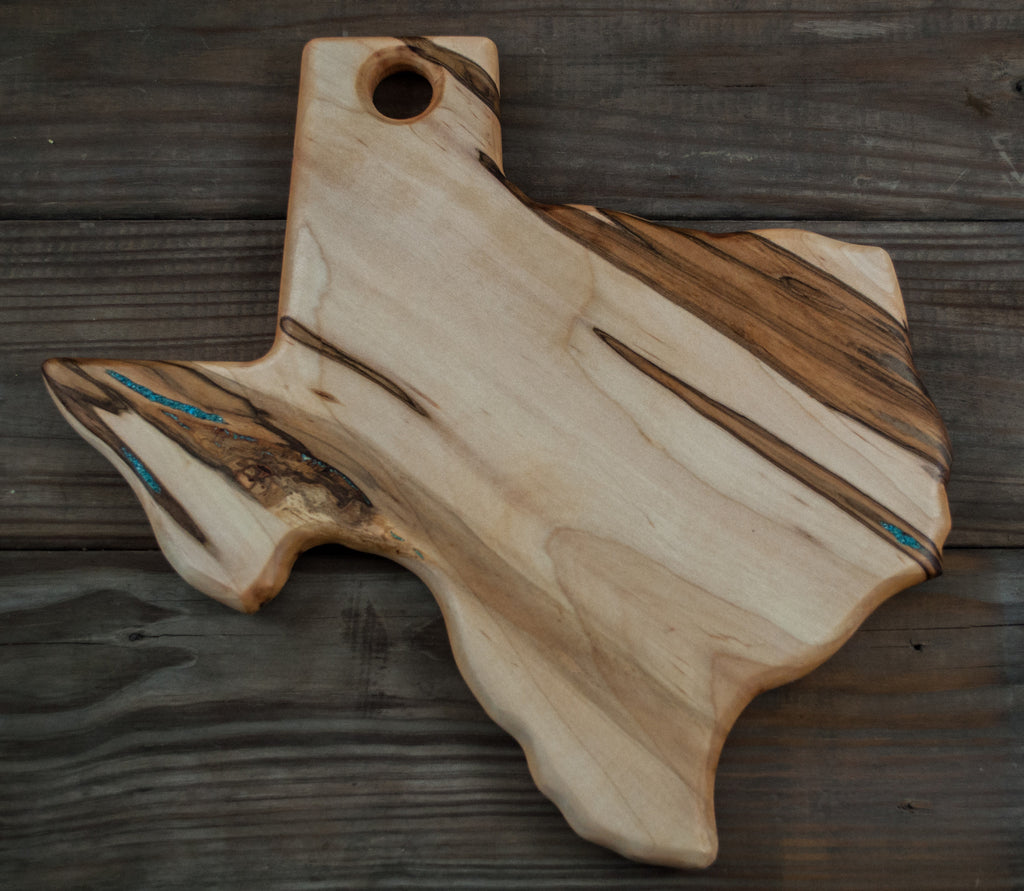 169. Texas Shaped, Ambrosia Maple Wood Serving Board