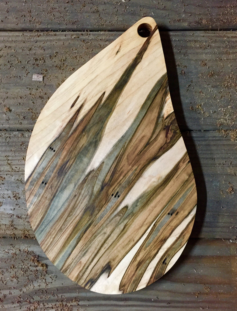 165. Teardrop Shape, Ambrosia Maple Wood Serving Board