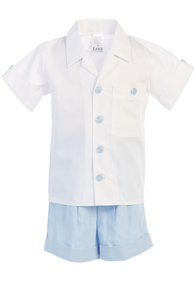 Light Blue Linen Shorts & Shirt Set Spring Outfit Baby & Toddler Boys (G833)