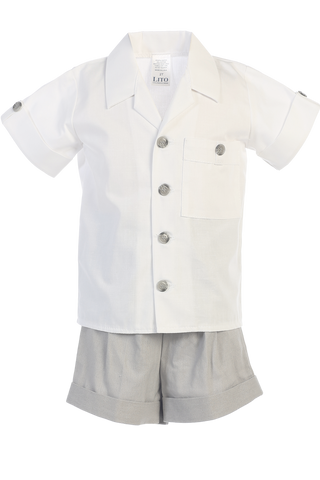Light Grey Linen Shorts & Shirt Set Spring Outfit Baby & Toddler Boys (G833)