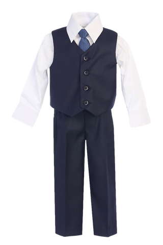 Navy Blue Vest & Pleated Pants Suit 4 Pc Outfit Baby to Boys Size 14 (8570)