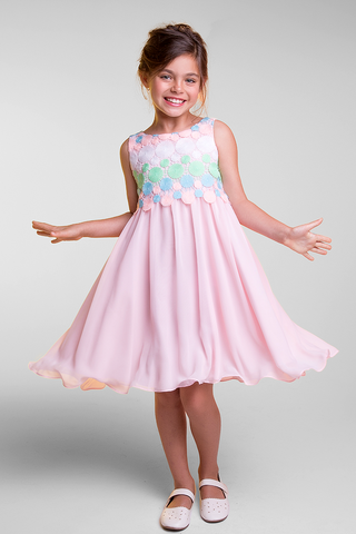 Girls Pink Chiffon Dress w. Crochet Circle Bodice KD384