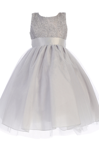 Silver Tulle Overlay Girls Holiday Dress with Sleeveless Corded Bodice 3M-10 (C505)