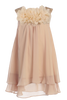 Champagne Chiffon Shift Dress with Mesh Flowers Girls (255F)