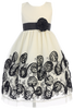 Ivory Tulle & Black Floral Soutache Ribbon Girls Holiday Dress  C988