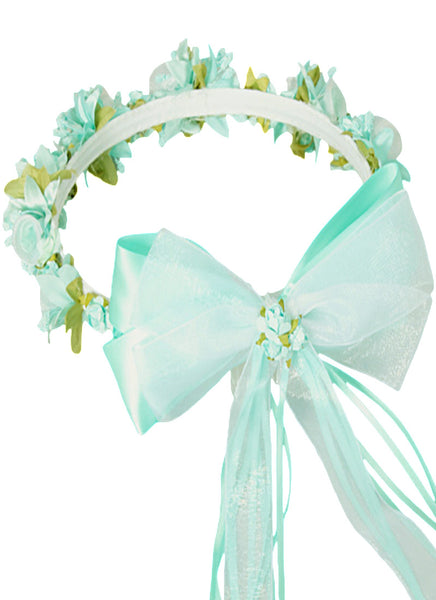 Mint Silk Floral Crown Wreath w Satin Ribbons Girls (HB007)