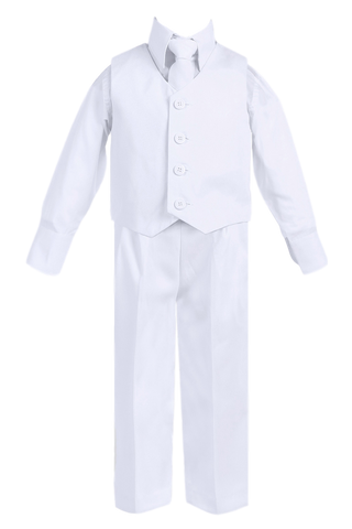 White Vest & Pleated Pants Suit 4 Pc Outfit Baby to Boys Size 14 (8570)
