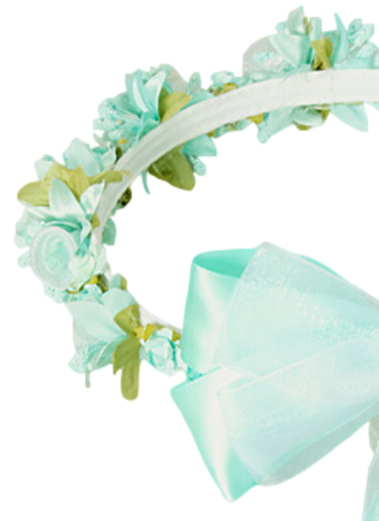 mint green floral crown wreath handmade with silk flowers back satin ribbons u0026 bows girls
