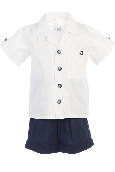 Navy Blue Linen Shorts & Shirt Set Spring Outfit Baby & Toddler Boys (G833)