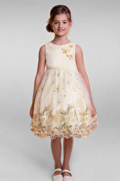Yellow Organza Overlay Girls Dress w Embroidered Flowers & Butterflies (388)