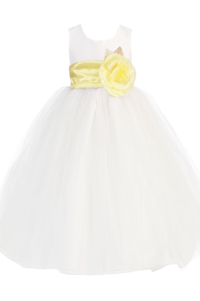 White Tulle & Poly Silk Blossom Flower Girls Dress w Yellow Sash (BL228)