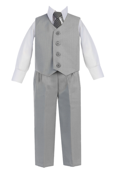 Light Grey Vest & Pleated Pants Suit 4 Pc Outfit Baby to Boys Size 14 (8570)