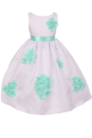 Mint Green Dimensional Flowers on White Shantung Baby Girls Dress (219-F)