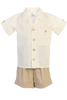 Khaki Tan Linen Shorts & Shirt Set Spring Outfit Baby & Toddler Boys (G833)