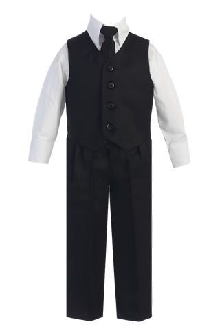 Black Vest & Pleated Pants Suit 4 Pc Outfit Baby to Boys Size 14 (8570)