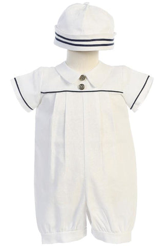 Infant Boys White Linen Blend Romper with Navy Trim & Cap G838