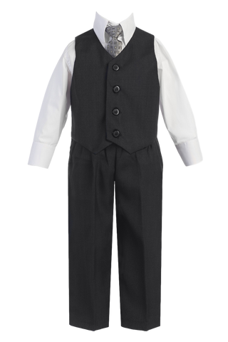 Charcoal Grey Vest & Pleated Pants Suit 4 Pc Outfit Baby to Boys Size 14 (8570)