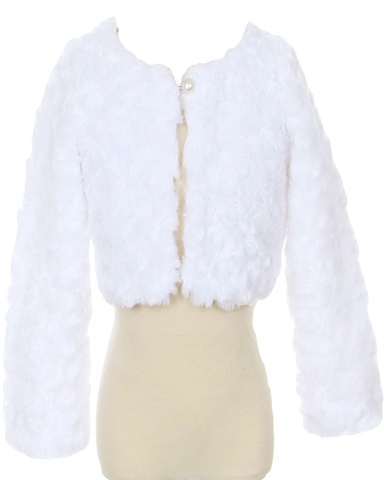 White Fur Cropped Length Girls Occasion Jacket (330)