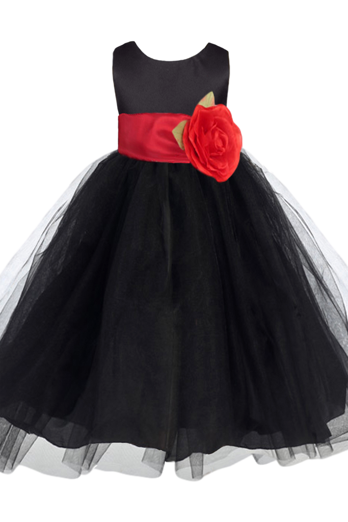 b474ad9f057 Black Layered Tulle Flower Girl Dress with Custom Sash   Flower BL228 ...