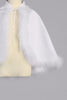 Girls White Satin Marabou Feather Trimmed Cape