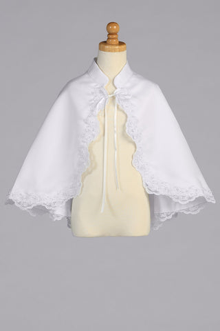 Girls White Satin Cape with Lace Trim & Sequin Accents