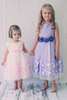 Pink Tulle Baby Girls Dress w 3D Taffeta Flowers (333)