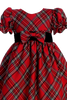 Red & Green Plaid Girls Holiday Dress w. Ruffle Sleeves  C814