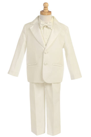 Boys Ivory 2-Button Single Breast Tuxedo w. Cummerbund 7535