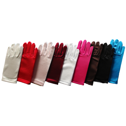 Satin Short Wrist Length Gloves Formal or Dress Girls (SGLOVE)