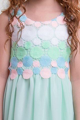 Mint Green Chiffon Girls Dress w Circle Embroidered Crochet Bodice (384)