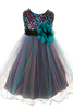 Girls Teal Sequined Party Dress with Colorful Tulle Layers KD328