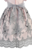 Pink Shantung & Silver Embroidered Girls Christmas Holiday Dress (C992)