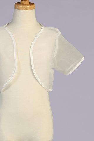 Girls Ivory Sheer Organza Short Sleeve Bolero Jacket