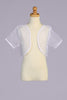 Girls White Sheer Organza Short Sleeve Bolero Jacket