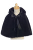 Girls Black Faux Fur Satin Lined Cape with Hood