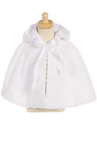 Girls White Faux Fur Satin Lined Cape with Hood