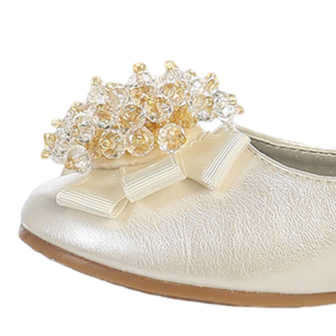 Ivory Dress Shoes w Crystal Cluster & Bow on Toe Girls (ANNA)